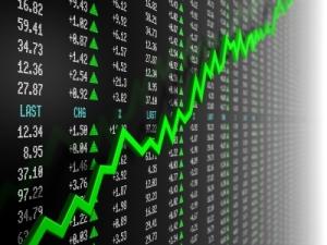 Stock market data with uptrend vector. 3d render.